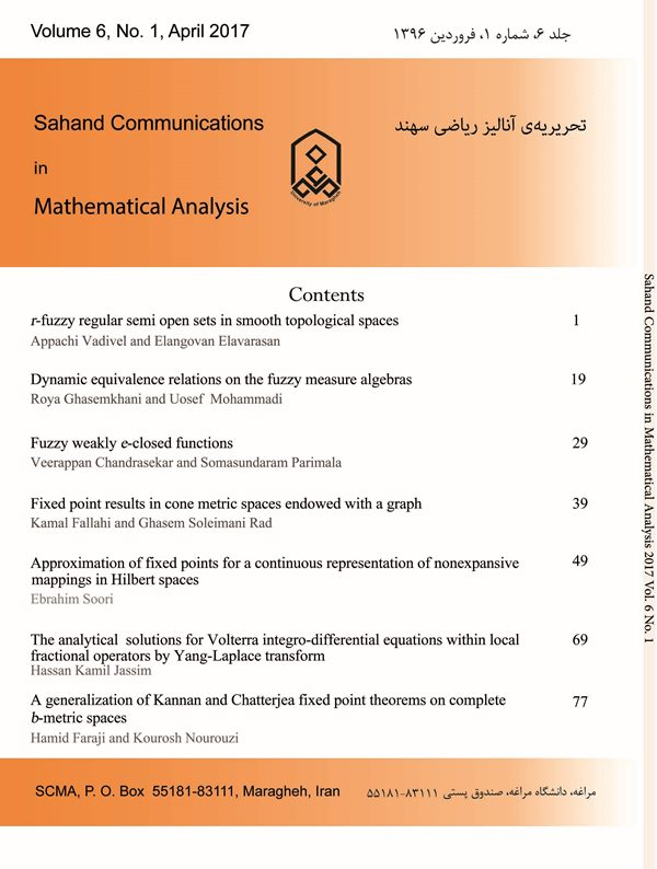 Sahand Communications in Mathematical Analysis